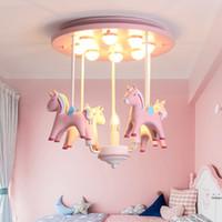 Carousel Karikatür Tavan Işıkları Nordic Yatak Odası Çalışma Odası Tavan Lambaları çocuk Odası led Aydınlatma Anaokulu Yaratıcı Koruma Işıkları