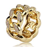 Cadena de oro blanco de 18 quilates chapado en oro Circonita ahuecado cubana regalos de la joyería de los anillos de diamante de Hip Hop para Hombres Mujeres Tamaño 13 mm 7-11 mayorista