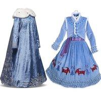 아기 소녀 드레스의 겨울 냉동복 공주 드레스 롱 슬리브 코트 아이자 할로윈 의상 코스프레 의류 공 드레스 무료로 보내기