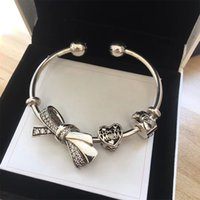 luxury designer jewelry women bracelets 925 Silver Bow Heart...