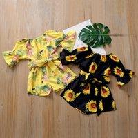 Kinder-Designerkleidung Kind Mädchen Sunflower Gedruckt Strampler Bowknot Overall Sommermode Aufflackern-Hülsen-Oneises Boutique Kleidung PY585