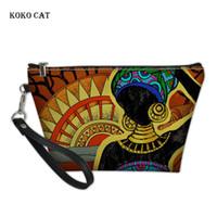 Sacs cosmétiques Casques Koko Cat Maquillage pour femmes Art Black Art African Impression Africaine Lave-lave Kit Femmes Voyage Voyage Toilette Pochette