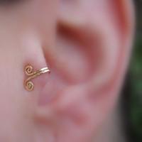 1 paio FAKE TRAGUS Piercing clip-on vite anello naso anello del naso 14k Giallo Giallo Giallo Polsino dell'orecchio dell'orecchio dell'orecchio del cuffio