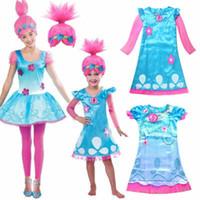 DE Stok Çocuk Troller Haşhaş Troll Fantezi Elbise Kostüm Peruk Çocuk Kız Kıyafet
