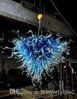 100% Mundgeblasen Borosilikat Herzform Bule Glas-LED Pendelleuchte Hochzeitsdeko Hand geblasenem Glas Leuchter-Beleuchtung