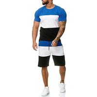 Новые мужские наборы мужская 2 шт экипировка спортивный комплект футболка с коротким рукавом и шорты Летний досуг случайные короткие тонкие наборы костюмы