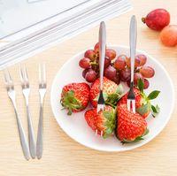 Edelstahl koreanischer Regenbogen-Kuchen-Frucht-Gabel-Abendessen Salat Gabel Geschirr Gold-Dessert Gabel für Hotel-Party-Küche-Stab-Werkzeug Verschiffen frei