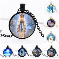 Collares de declaración Mujeres Hombres Cruz Virgen María Jesús Colgante Collar Cristiano Joyas Accesorios Collar religioso