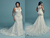 2019 Plus Size Wedding Dresses Mermaid Jewel Lace Applique B...
