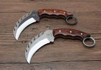 KARA Kirin karambit garra de la lámina D2 Serpentina mango de madera 59-60HRC la caza que acampa del cuchillo cuchillo de navidad regalo para el hombre Admi