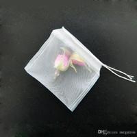 6 * 7 سنتيمتر قابلة لإعادة الاستخدام مع سلسلة شنقا الشاي أكياس فارغة غرامة النايلون شبكة سلالة تصفية حقيبة عشبة فضفاضة diy كأس الشاي مصفاة