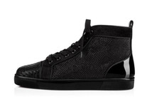 2019 Hot Hot italiana Red inferior alta-top couro preto Plano de Orlato Homens Sneakers Com Fishnet Glitter Walking Shoes Outdoor Calçado