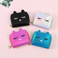 Girl Cat Laser Coin Purse Short Wallets Laser Leather Small ...