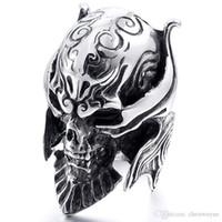 Moda Cool Uomo Gothic Carving Anello uomo acciaio inox di alta qualità Viking Skeleton Skull Dettaglio Dettaglio gioielli Biker Anello