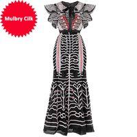 Ld Linda Della Fashion Runway Designer Vintage-Kleid-Frauen-Schmetterlings-Hülsen-Ineinander greifen Overlay-Streifen-Stickerei-Nixe-Partei-Kleid