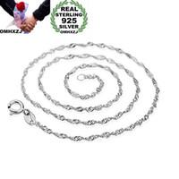 OMHXZJ Оптовая Личность женщины способа девушки партия подарков Серебряный Белый 1MM волна цепи 925 ожерелье NC182 стерлингового серебра цепи