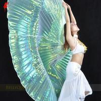 9 colores de las alas de la danza del vientre mujeres al por mayor de la danza del vientre translúcidos Ala niñas Isis para los apoyos Señora Telas
