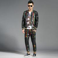 Vestito da uomo autunno-inverno 2017 nuovi uomini coreano tendenza hip hop personalità uomini di alta qualità in due pezzi giacca più cotone taglia