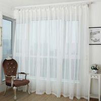 Listra branca cortinas para Sala Jarl Home Decor Jacquard respirável Tulle Janela Porta de painel de cortina para Quarto Hotel cortinas Hot