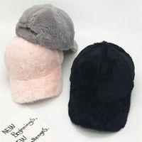 2018 Winter Womens Fashion Pink Baseball Cap Snapback Velvet Hat Hip Hop  Trucker Cap Warm Fleece Snap Back Tactical Black Hat  220272 c715414a081f