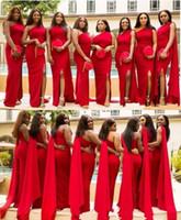 2019 arabe bon marché rouge sirène demoiselle d'honneur robe d'une épaule fendue longueur de plancher longueur de mariage robe d'invité de mariage formelle de robe d'honneur