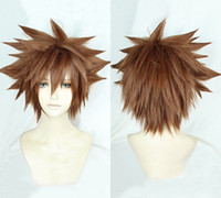 Kingdom Hearts III Sora Short Afro Pale Brown Cosplay Hair W...