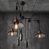Antique Lift Pulley Pendant Lamp Adjustable Suspension Hanging Ceiling Light Art Decor Chandelier Lighting Fixture PA0470