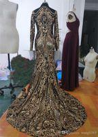 골드 스팽글 인어 저녁 연예인 드레스 2019 반짝이 높은 목 긴 소매 이슬람 공식 댄스 파티 드레스 미인 가운 ev1918