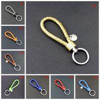 Porte-clés tressé en cuir PU Porte-clés de porte-clés de corde tissé Pendentif porte-clés porte-clés porte-clés Hommes Femmes Key Ring Party Forfe VT1016