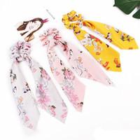 INS Bahar Gül Çiçek Saç Scrunchies Bow Kadınlar Aksesuar Saç Bantları Kravatlar Scrunchie at kuyruğu Tutucu Lastik Halat Dekorasyon Big Uzun Bow