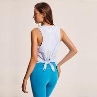 New Bonito Tie Voltar Yoga Tank Top Camisa de Treino de Secagem Rápida Mulheres Casual Training Cross Gym Blusas Correndo Corredor Camisa Do Tanque Do Esporte