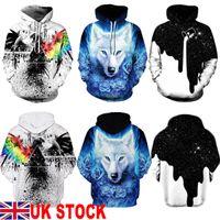 Arrefecer Unisex Homens Mulheres pulôver com capuz Lobo 3D Águia Ink Imprimir velo camisola Top Streetwear