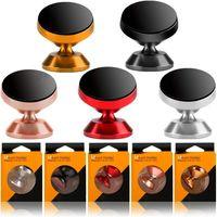 soporte para teléfono coche magnético del montaje del sostenedor del soporte del teléfono del coche de 360 grados de rotación de la aleación para el iphone 7 8 x Samsung S8 S9 GPS MP3 con caja al por menor