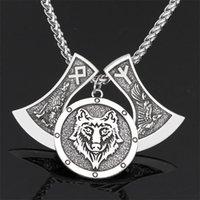قلادة القلائد الرجال الفايكينغ الذئب رئيس الفأس تميمة قلادة الغراب رون طويل الرقبة سلسلة مجوهرات وطنية مجوهرات صديق هدية