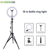 HaoXin التصوير LED الصور الشخصية للحلقة الضوء 10inch لمعدن عكس الضوء كاميرا الدائري الهاتف مصباح مع حامل حوامل للماكياج فيديو لايف ستوديو