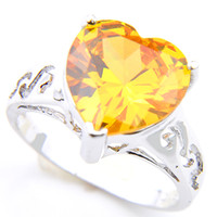 5pcs Lot Wholesale Solitaire Engagement Jewelry Heart Yellow Citrine Gems Gems 925 Sterling Silver Plated For Women Rings US Size 7 8 9