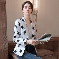 Frauen Blazer und Jacken Schwarz-Weiß-Blazer-Stars Geometrische Designermantel Koreanische Frau Blazer Jaket Damen Kleidung