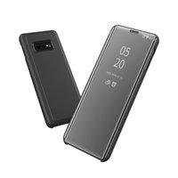 Luxe placage flip Smart View Mirror Transparent Téléphone Case PARFAITEMENT Béquille PU cuir pour OnePlus 6T