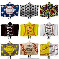 Nowy baseball softball koc z kapturem sportowy piłka rzut koc z kapturem miękkie ciepłe sherpa fleece domowe koce zawijające dla dzieci