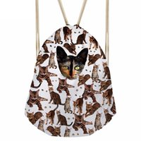 Divertido 3D Many Tabby Cat Print Women Drawstrings Bags Casual Ladies Softback Beach Bag Zapatos Ropa Almacenamiento MochilaSumka
