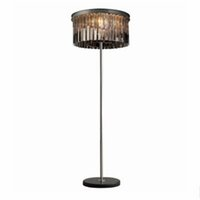 Smoky Grey / Transparente Simples Cristal Floor Lamp e quarto Modern Light Study Desk Luz Criativa Piso Luz