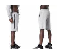 Pantaloncini sportivi in pile Fashion-Tech N Tasca con cerniera Pantaloni sportivi pantaloni casual Grigio nero S-XL