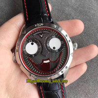 Версия V2 Уникальное улыбающееся лицо Творчество Константин Чайкин Джокер Черный циферблат Автоматические мужские клоунские часы Серебряный чехол Кожаный ремешок