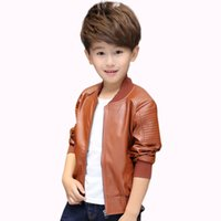 Jacket For Boys PU Leather Solid Boys Coat Turn- down Collar ...