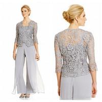 2021 старинные серебряные мать невесты жених платья с брюками костюмы кварталы рукав кружевной пиджак топ мать невесты трусцовый костюм