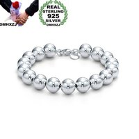 OMHXZJ Großhandel Persönlichkeit Mode Frauen-Mädchen-Partei-Geschenk-Silber-10mm Hohlperlen Kette 925 Sterling Silber Armband BR07