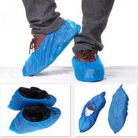 Plastik tek kullanımlık Ayakkabı Kapaklar Su geçirmez Boot galoş Yağmur Ayakkabı Kapaklar Çamur geçirmez Mavi Renk Katı 100pcs / set Kapaklar