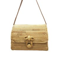 Retrò Bowknot Rattan Woven Bag Moda rettangolo Beach Bag Dual-purpose Travel Sling Bag Crossbody Borse per le signore Brand New