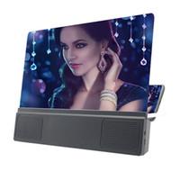 12INCH HD كبير شاشة شاشة الهاتف المحمول المكبر فيديو 3D الصوت مكبر للصوت حامل حامل الهاتف القوس