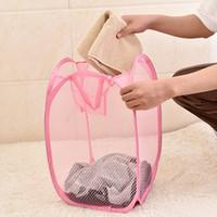 Lavatoio carrello Mesh Bag in tessuto pieghevoli Borse sporchi lavare i vestiti di lavanderia cestino Hamper sacchetti di immagazzinaggio